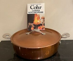 Vintage COHR Denmark Copper Cooking Pot with Lid and Silvered Color Interior