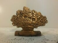 Vintage Brass Bookend Basket of Flowers Thick & Heavy