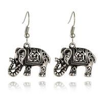 Retro Tibet Silver Plated Carved Elephant Ear Hook Dangle Earrings Women、New