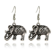 Retro Tibet Silver Plated Carved Elephant Ear Hook Dangle Earrings Lady _S