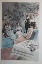 Eau-forte aquarelle pochoir La Femme à Paris Pierre Vidal Fred. Massé Uzanne 18