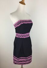 FCUK French Connection Womens Sz 4 Dark Blue Purple Trim Sleeveless Dress B16