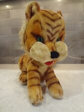 Vintage Tiger Plush Stuffed Toy Handmade Italy Green Glass Eyes Steiff Mohair ?