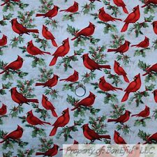 BonEful FABRIC Cotton Quilt White Green Holly Leaf Red Berry Cardinal Bird SCRAP