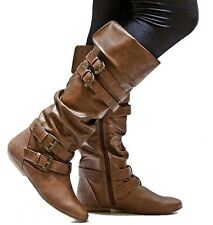New Women FTam Tan Black Buckle Riding Knee High Boots size 6 to 10