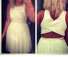 Warehouse Dress. Size 10 Chiffon Skater White Beaded Dress Keyhole Back RRP £130