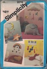 Simplicity 274 Baby Crib Mobiles & Pillows 4 Different Designs Vtg Uncut 1984