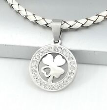 Silver Irish Celtic Four Leaf Clover Love Pendant White Braided Leather Necklace