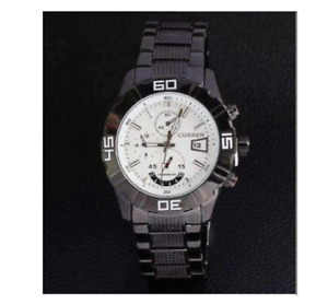 Curren 8015D-1-Black/White Stainless Steel Watch