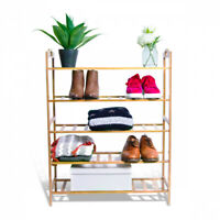 3/4/5 Tiers Layers Bamboo Shoe Rack Organizer Storage Shelf Stand Natural House