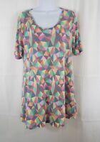 Lularoe Women's Multicolor Tunic Top Size M Short Sleeve Side Slits Geometric