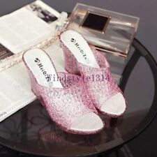 Hot Summer Ladies Clear High Wedge Heel Slipers Sandals Jelly Shoes Antiskid Sz