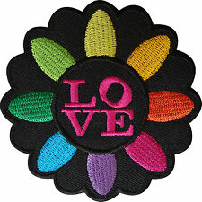 Love Patch Iron Sew On Jacket Jeans Embroidered Rainbow Flower Embroidery Badge