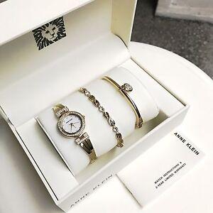 Anne Klein Watch * 1868GBST MOP Crystals Gold Steel Watch Bangle & Bracelet Set