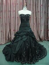 Gothic Black Wedding Dresses Strapless Embroidery Pick Up Bride Custom Gowns