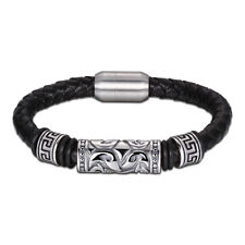 Mens Surf Leather Wristband Bracelet Braided Stainless Steel Clasp Gold & Black