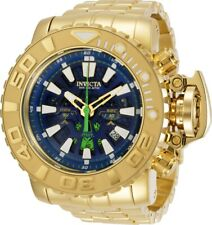 Invicta Mens 70MM Sea Hunter Blue Dial Gold-Tone Diver Chrono SS Bracelet Watch