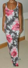 COTTON CLUB GREY PINK WHITE TIE DYED JERSEY MAXI DRESS - SIZE 10 TO 12