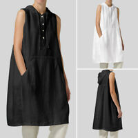 UK 8-24 Women Strappy Hooded Baggy Long Tops Holiday Beach Shirt Dress Tunic Tee