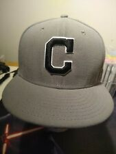 Cleveland Indians New Era 59 Fitted Hat Size 7 5/8 Gray Black White Trim C