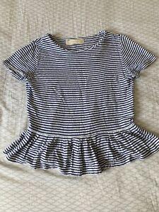 Womens Zara Linen Knit Stripey Summer Floaty Top Size 12