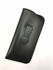 New Soft Slip In Eyeglass Faux Leather Case Holder Belt Holster Pouch Clip Black