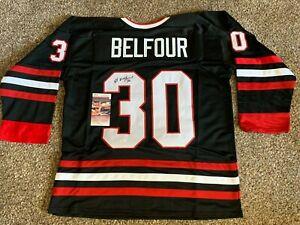 Ed Belfour Black Chicago Blackhawks Autographed Jersey JSA COA Signed