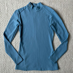 Under Armour Womens Cold Gear Fitted Mock Neck Long Sleeve Shirt Top Size M Blue