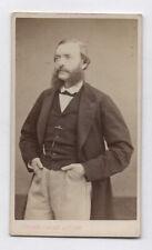 PHOTO ANCIENNE CDV Barbe Homme Etienne CARJAT 1870 Paris Costume Montre Main