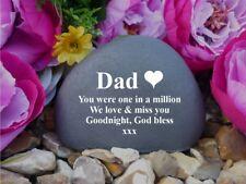 Memorial Pebble (Stone effect) - Personalised - Weatherproof.  Dad / Heart (FS)