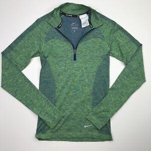 Nike Women's Dri Fit Knit Seamless Green 1/4 Zip Pullover Size XS