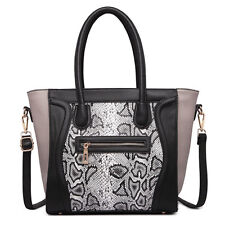 Women Structured PU Leather Smile Snake Print Shoulder Handbag Tote Bag Black