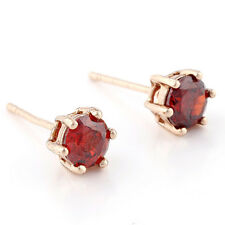 Fashion Womens Childrens Rose Gold Plated Round Retro Red Garnet Stud Earrings