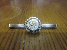 Vintage Hallmarked Silver Bar Brooch With Gold Rose