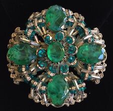 Vintage Miriam Haskell Brooch~Art Glass/Crystals/RS~Green/Teal Blue/Silver Tone