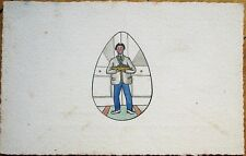 Original Art/Hand-Painted 1920 Easter Postcard: Man w/Colored Eggs in Egg