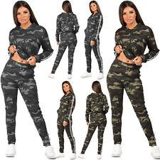 Womens Camouflage Print Tracksuit Side Stripe Top Jacket Lounge Leggings 2Pc Set