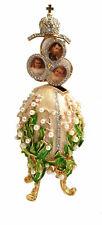 Réplique œuf de Fabergé Le Muguet blanc et Or ,boite a musique