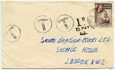 GOLD COAST OPON VALLEY POSTAGE DUE T CIRCLED 3 TIMES to GB
