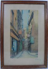 Aquatinta aguafuerte/calle callejón Francia París/firma