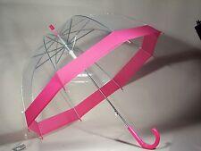 Regenschirm durchsichtig/transparent Glockenschirm  pink Automatik - chic!