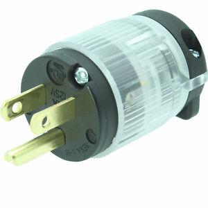Lighted Male 515-PV-LIT Power Cord Repair 15 Amp 5-15P Straight Blade Plug 125V