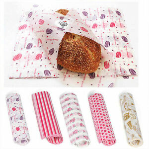 50Pcs Wax Paper Food Wrapping Hambur Sandwich Bread Candy Wrap Paper Disposable
