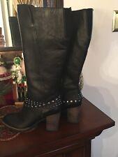 Germany Tamaris Wortmann Tall Black Boots Size 37 Us 6 1/2