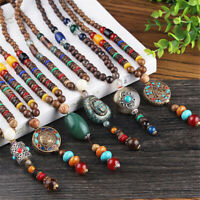 Multi Pattern Bohemian Pendants Vintage Ethnic Wood Handmade Beaded  Necklace