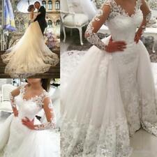Lace Long Sleeve Wedding dresses with Detachable Train Bridal Gowns Plus Size