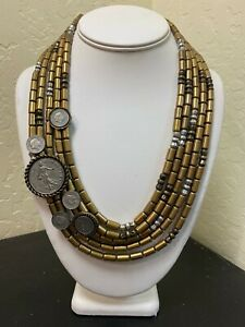 Chico's Brass Tone 5 Strand Fashion Statement Necklace w/attached coins DS03