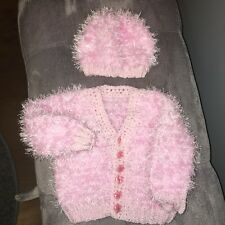 Hand Knitted Baby Girl's Funky Fur Pink Cardigan & Hat Set 3-6 Months