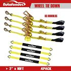 4 Pack 36'' Axle Straps Tie Downs with Adjustable Tire Wheel Tie Down