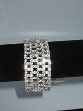 Monet NWT Stretchy Bracelet Rhinestone Crystal Silver Tone Statement Shiny Bling